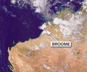 Composite image from MTSAT-1R weather satellite. Storm approaching Broome WA.