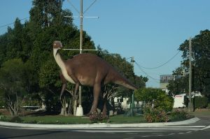 Muttaburrasaurus roaming the main street of Hughenden