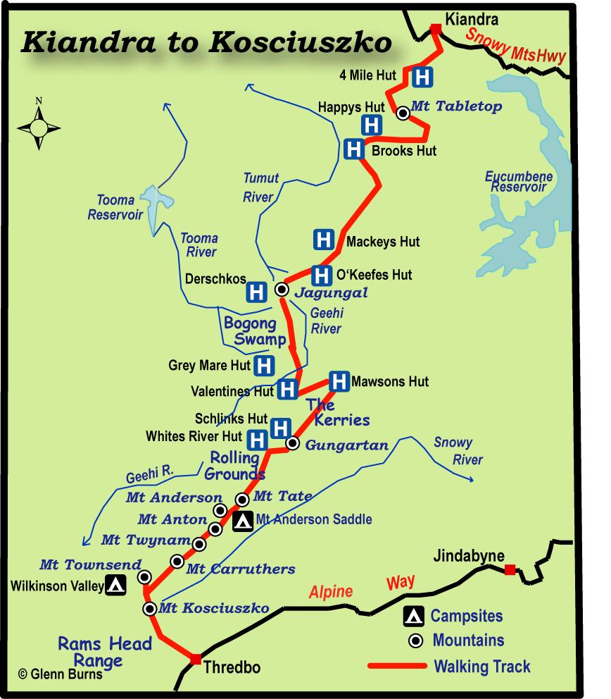 Map Of Australia Mt Kosciuszko.Kiandra To Kosciuszko By Map And Compass