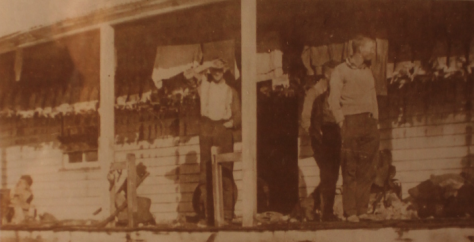 Source: Phyllis Dowling Collection.Rabbit skins drying on verandah of Long Plain hut. Circa 1939