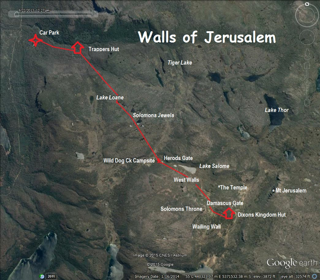 The Walls Of Jerusalem A Wilderness in Winter  by map and compass