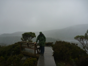 Cradle Mt on a cold, wet day.