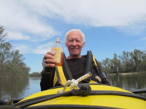 Bernard celebrating the half way mark on his Murray River journey.