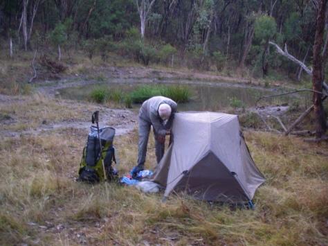Campsite high on the Roberts Range.