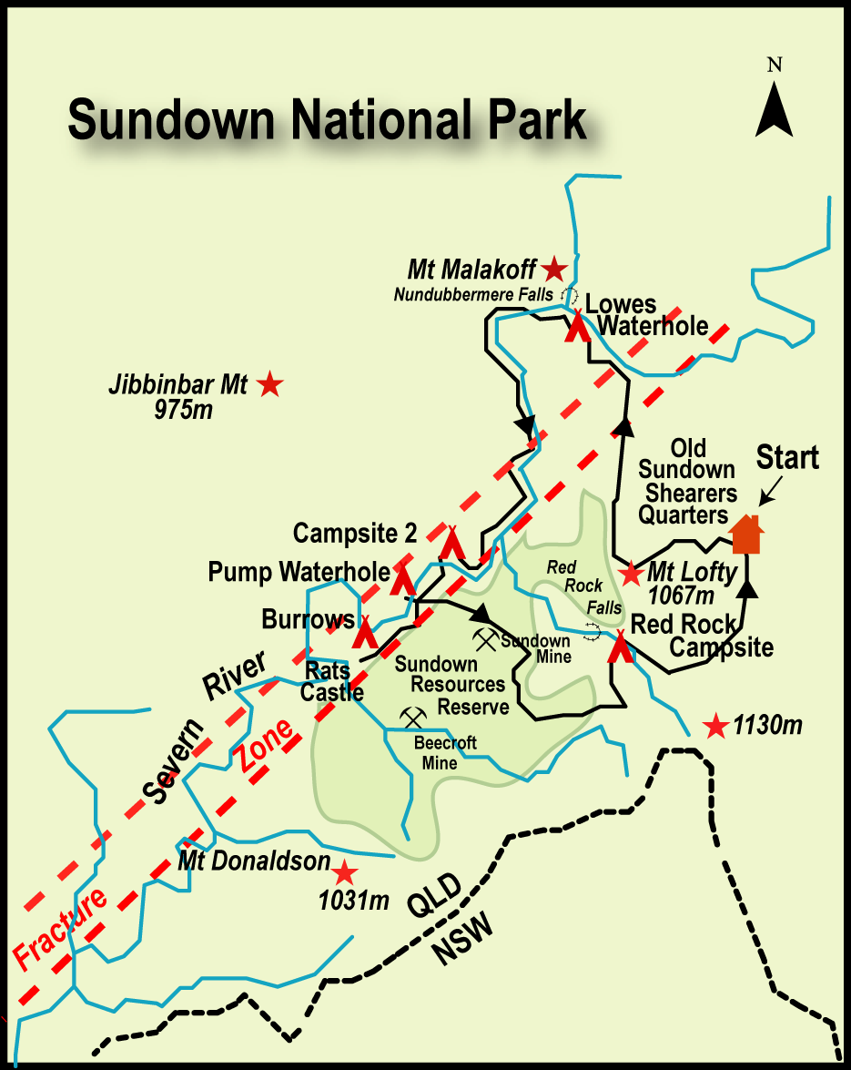 Map of Northern Sundown National Park. Qld.