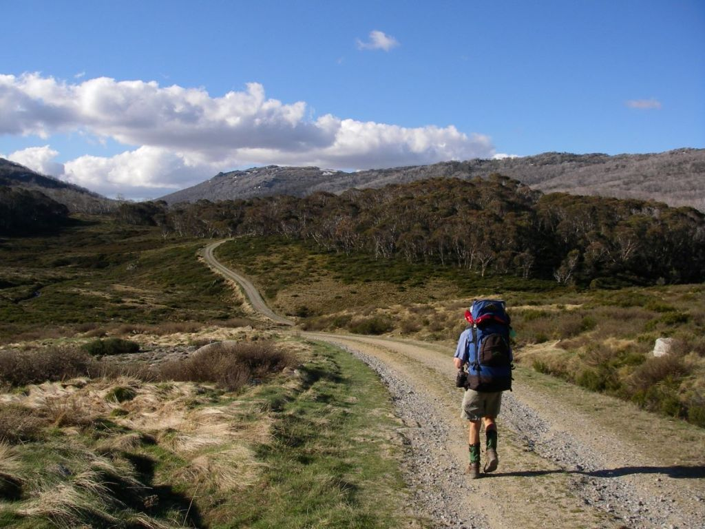 Heading for Whites River Hut late afternoon on Australian Alps Walking Track