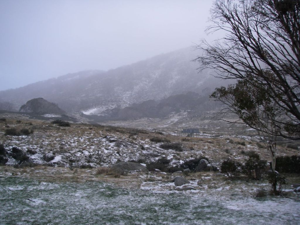 A cold morning at Whites River Hut in Kosciuszko National Park.