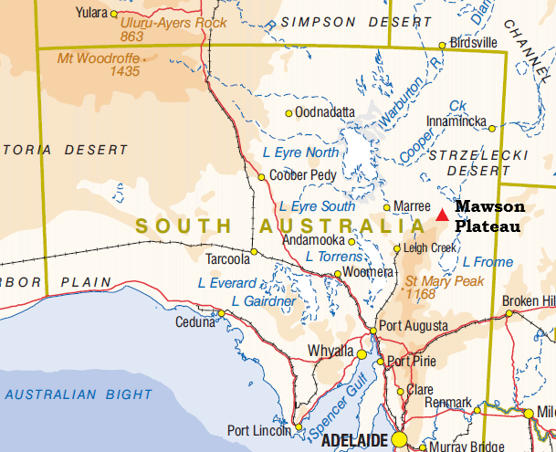 Location of Mawson Plateau. SA.