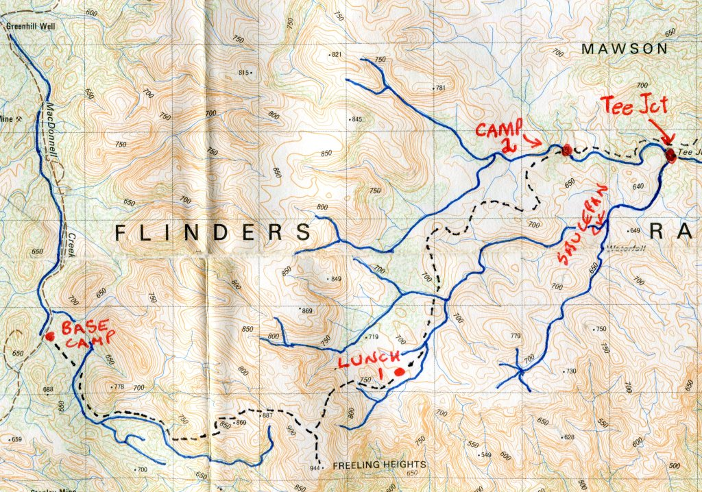 Mawson Plateau Hike: annotated map of first section.