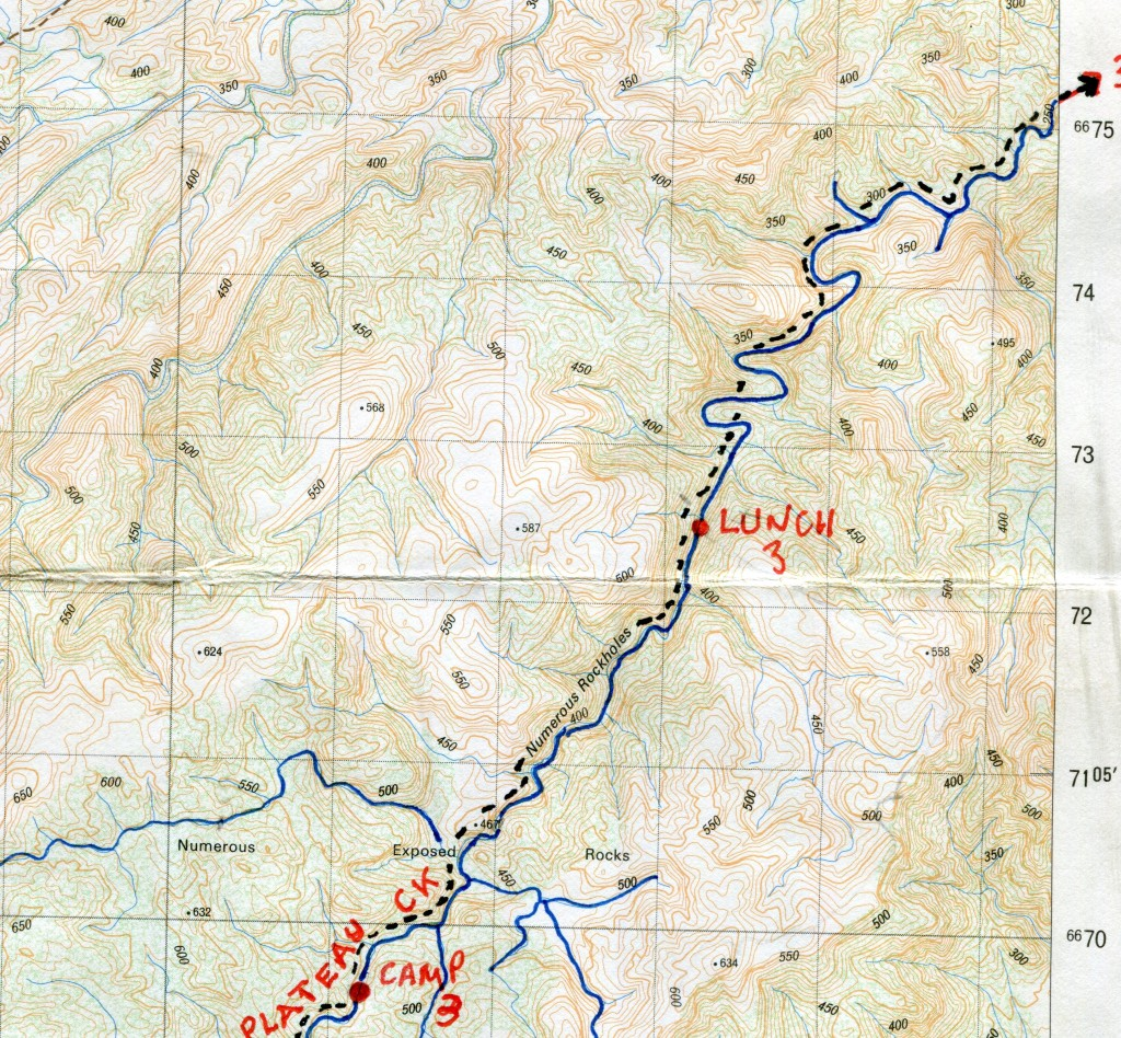 Map of section of Granite Plateau Creek on Mawson Plateau.